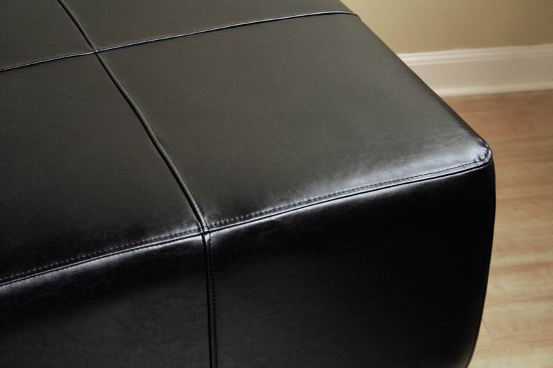 full leather square ottoman footstool