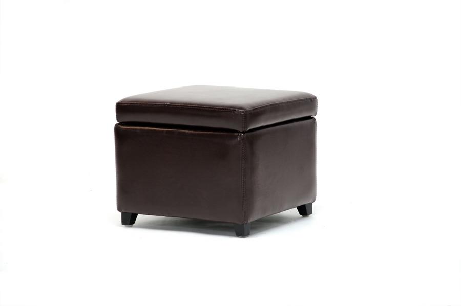 dark brown full leather small storage