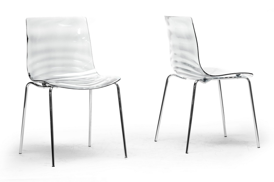 Baxton Studio Marisse Clear Plastic Modern Dining Chair Set Of 2 Wholesale Interiors