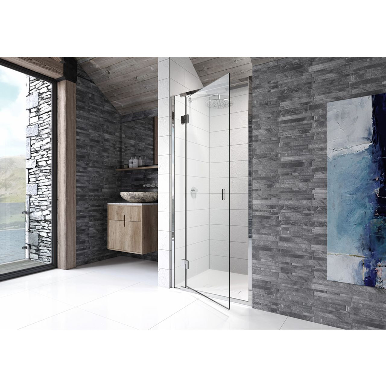 Kudos Pinnacle8 900mm Right Hand Hinged Shower Door For Recess Installation P8hr90r