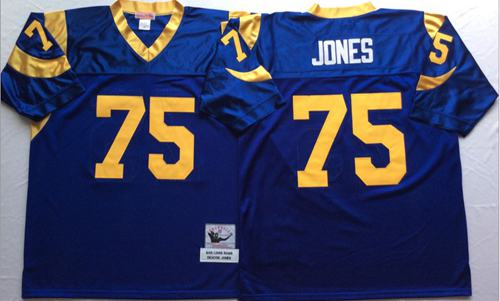 on sale 87eb3 a72b4 Mitchell And Ness Rams #75 Deacon Jones Blue Throwback ...