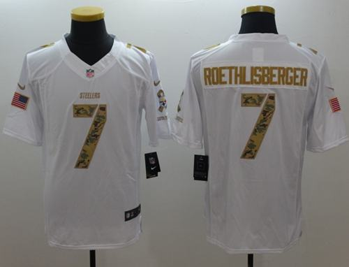 best sneakers ed6be 525f2 Nike Steelers #7 Ben Roethlisberger White Men's Stitched NFL ...