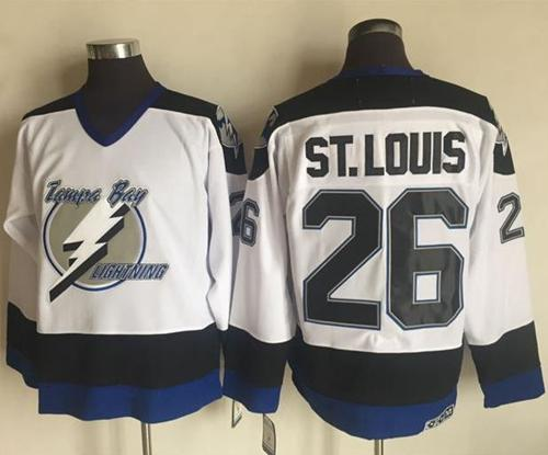 76de24857 Lightning  26 Martin St. Louis White CCM Throwback Stitched NHL Jersey