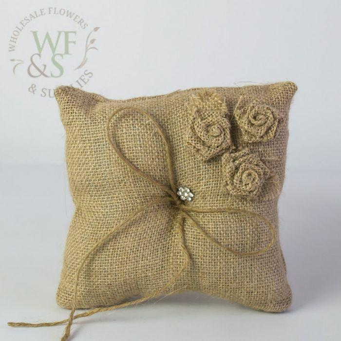 burlap ring bearer pillow 7