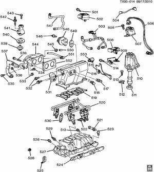 Chevrolet S10 ENGINE ASM43L V6 PART 5 MANIFOLD & FUEL