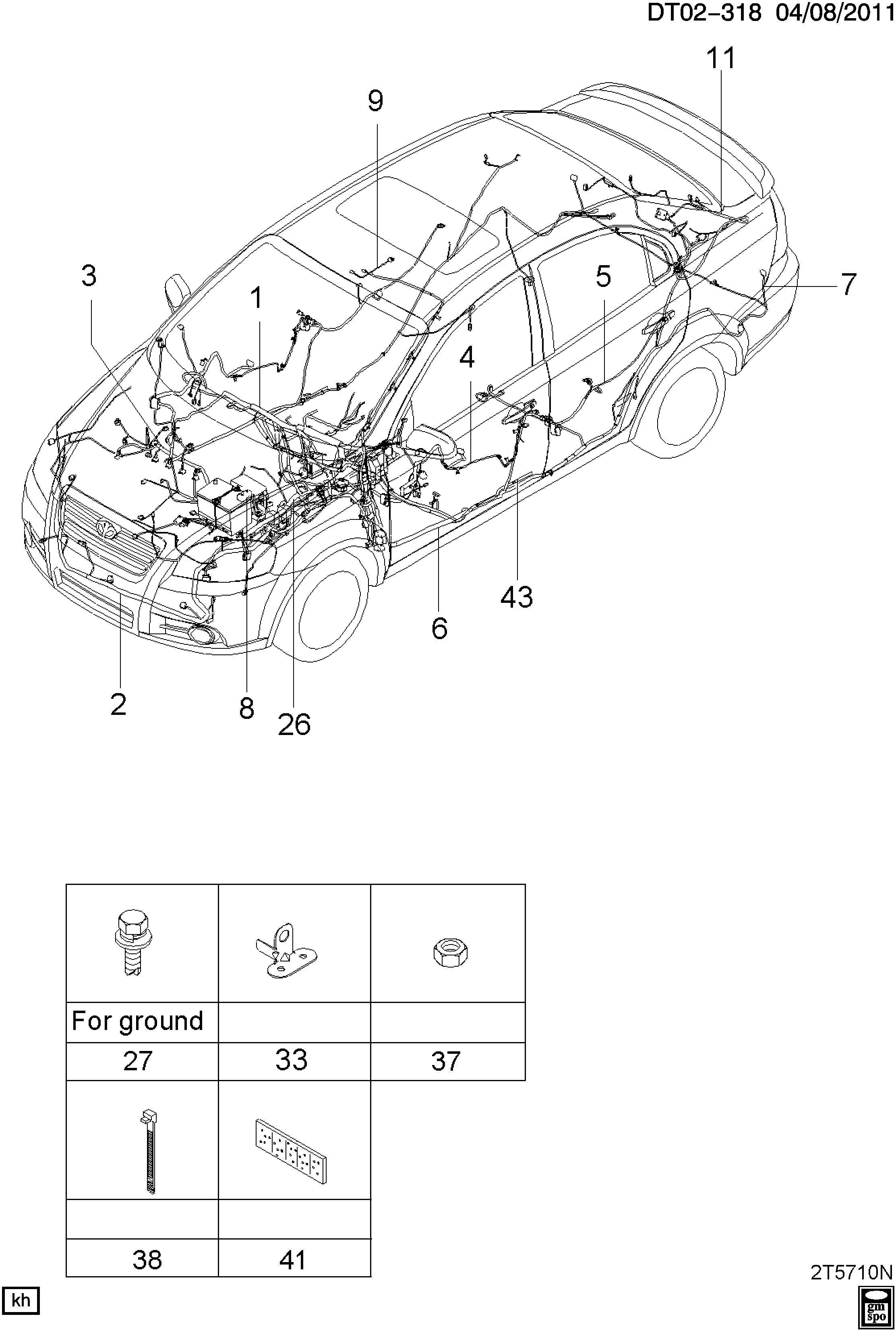 Chevrolet Aveo Harness Body Wiring Harness R Cmpt Lid