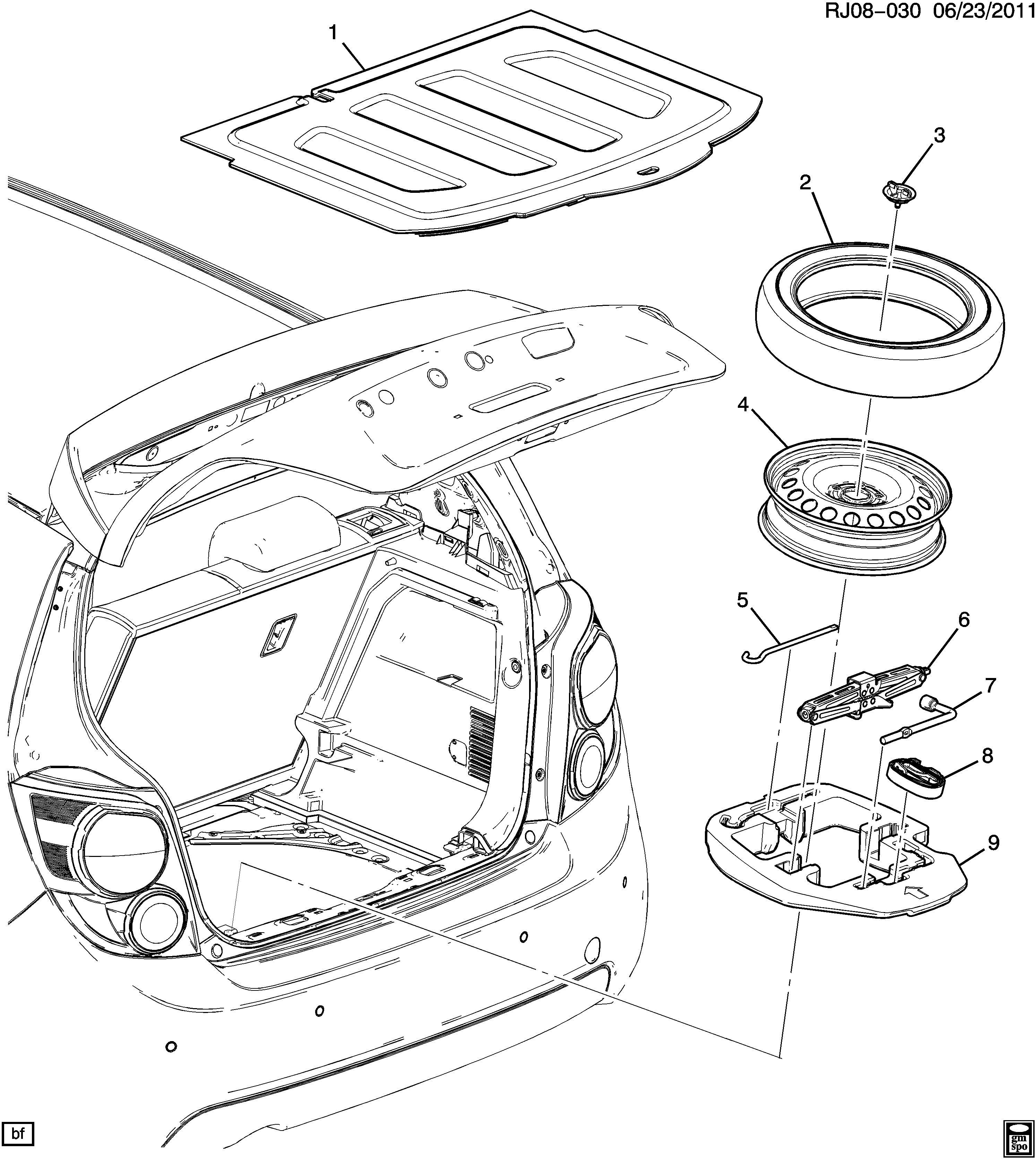 Chevrolet Sonic Strap Spare Wheel Wheel Bracketstrap