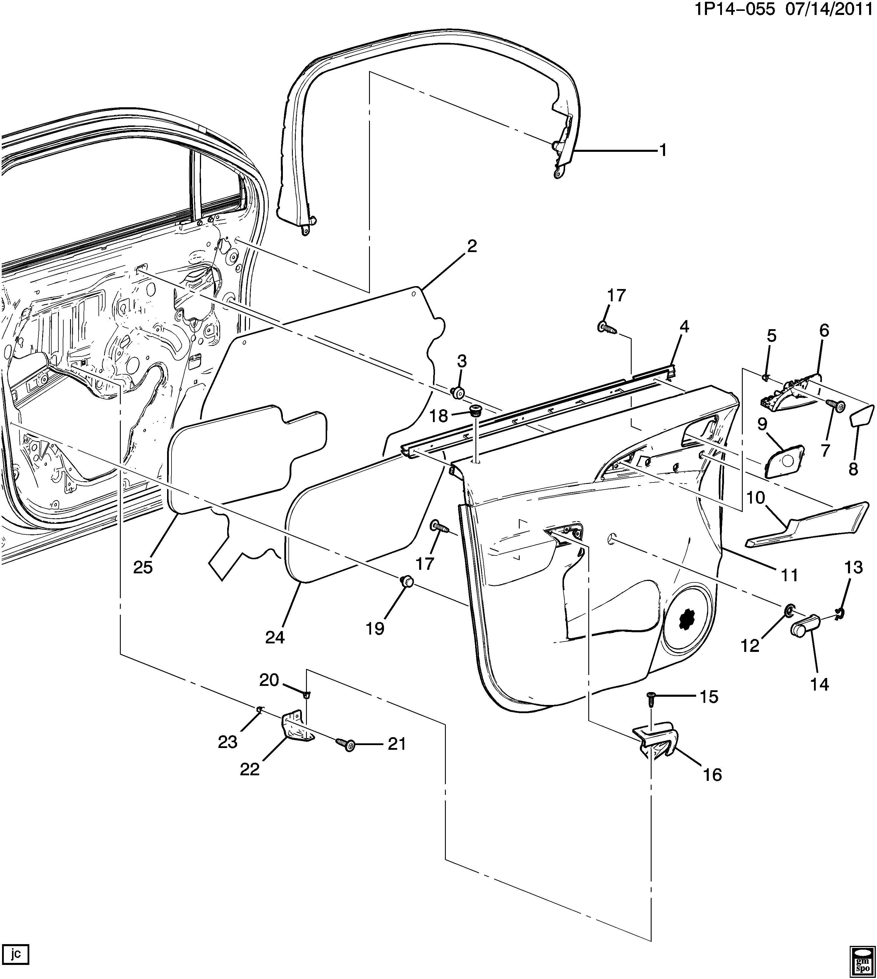 Chevrolet Orlando Clip Retainer Front Door Trim Rear