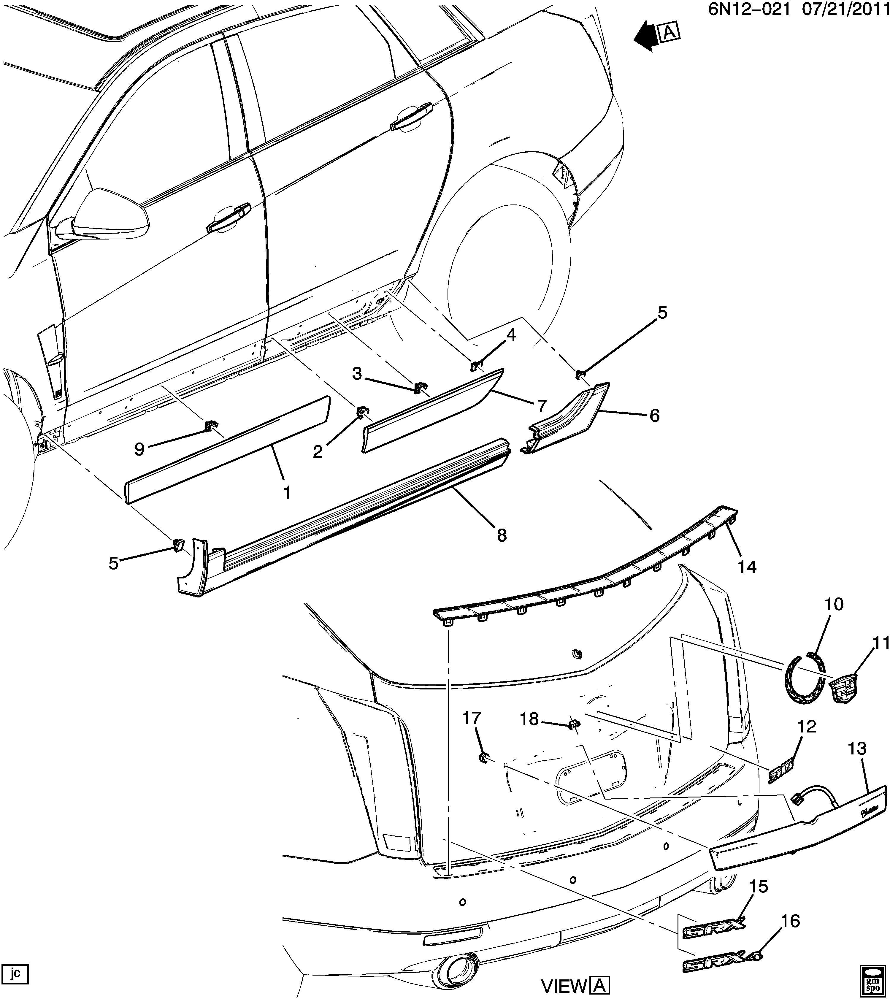 Cadillac Srx Molding Rocker Panel Molding Rkr Pnl Rr
