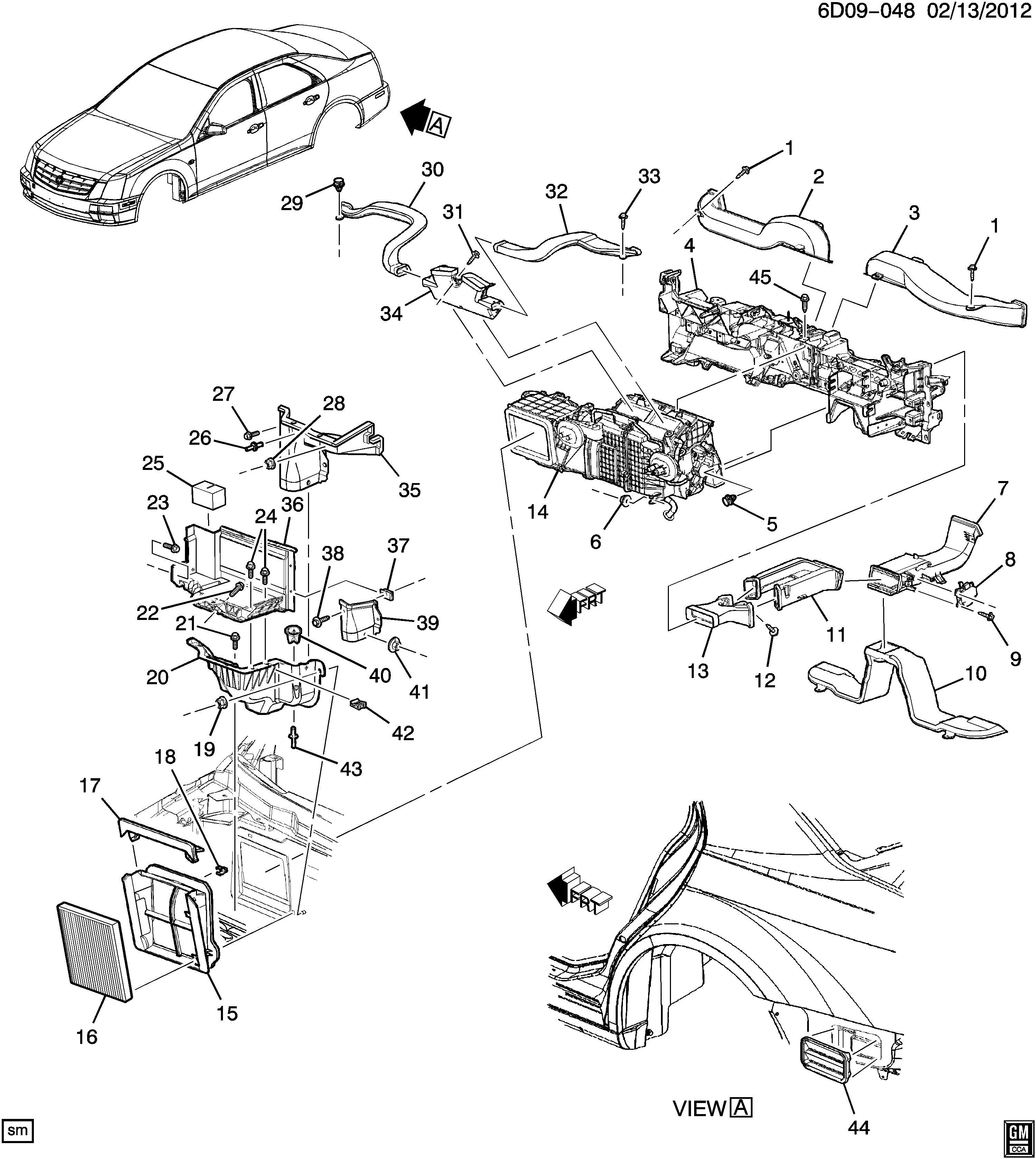 Cadillac Sts Duct Air Distributor Duct Flr Rr Air Otlt