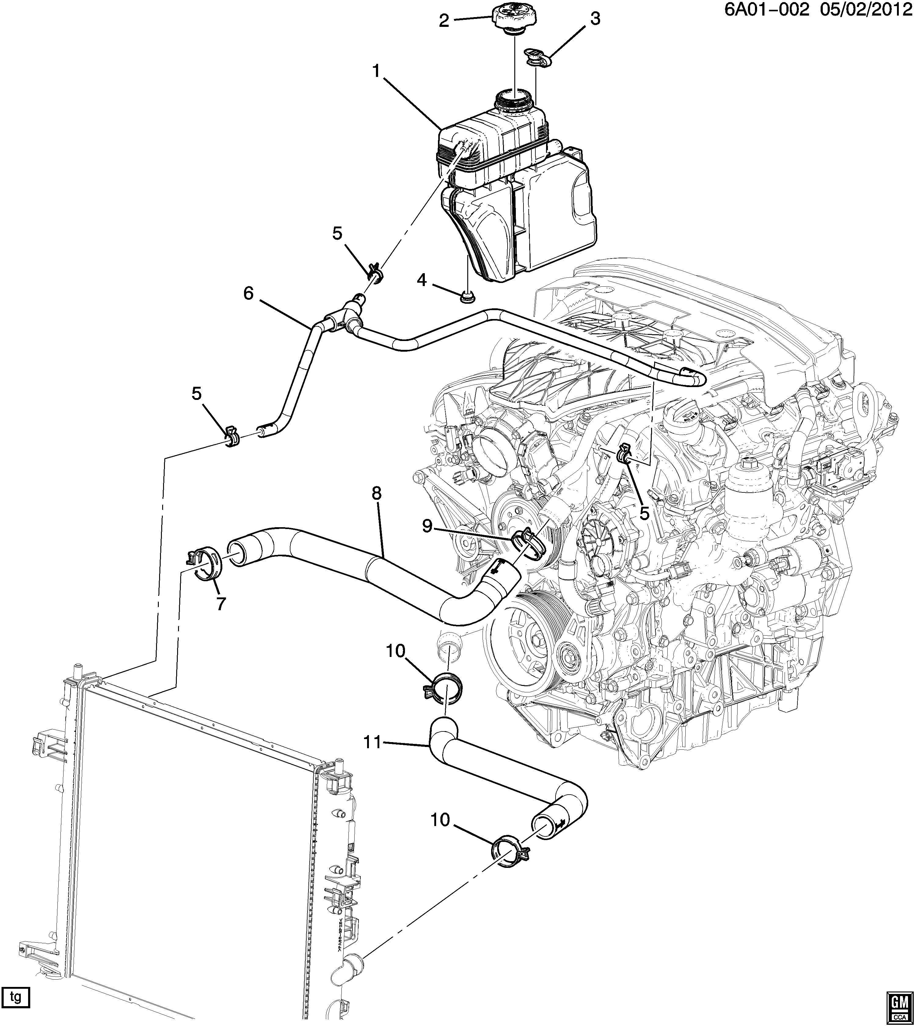Cadillac Ats Hose Engine Coolant Recovery Hose Rad