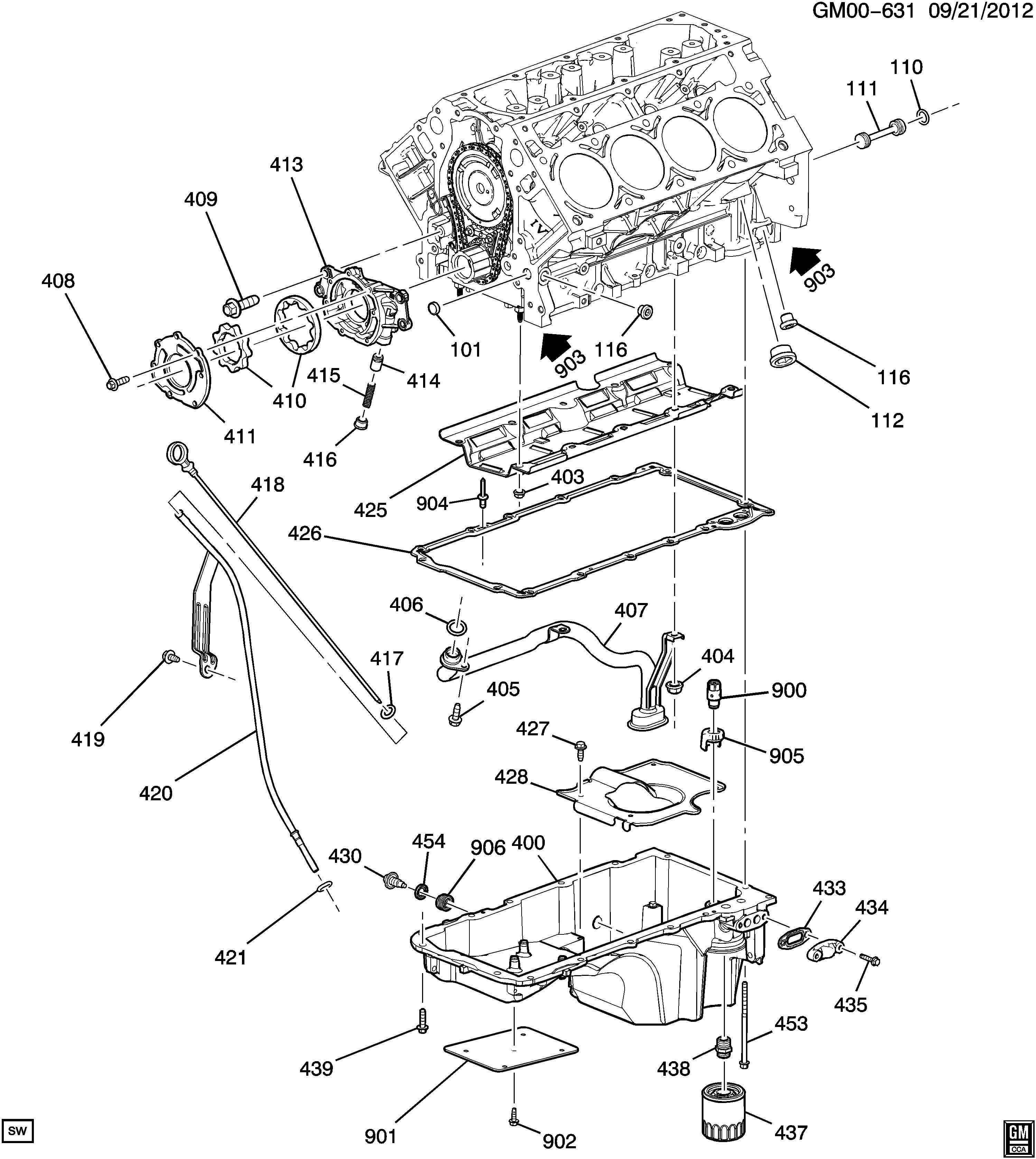 Chevrolet Tahoe Deflector Engine Oil Pressure Deflector