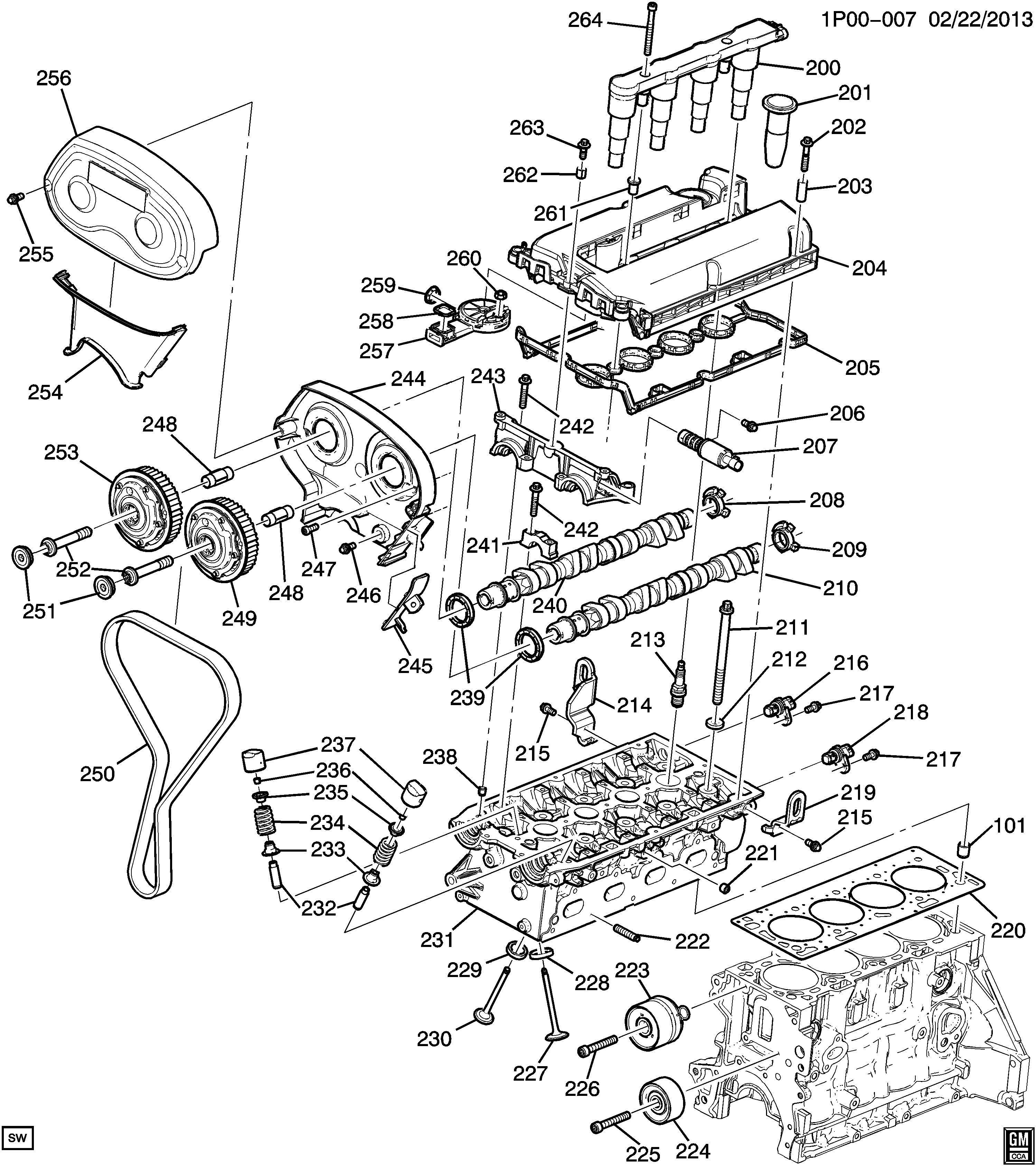 Chevrolet Cruze Camshaft Engine Camshaft Exh