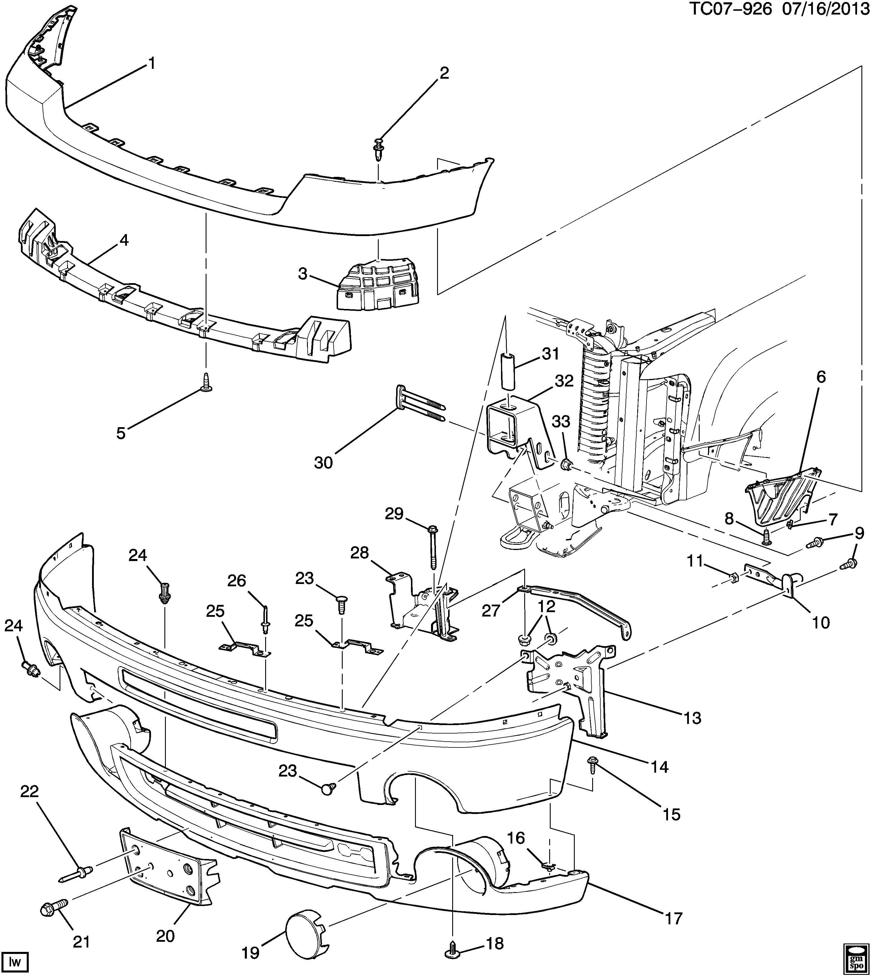 Gmc Sierra Bracket Bumper Fascia Mounting Bracket Frt