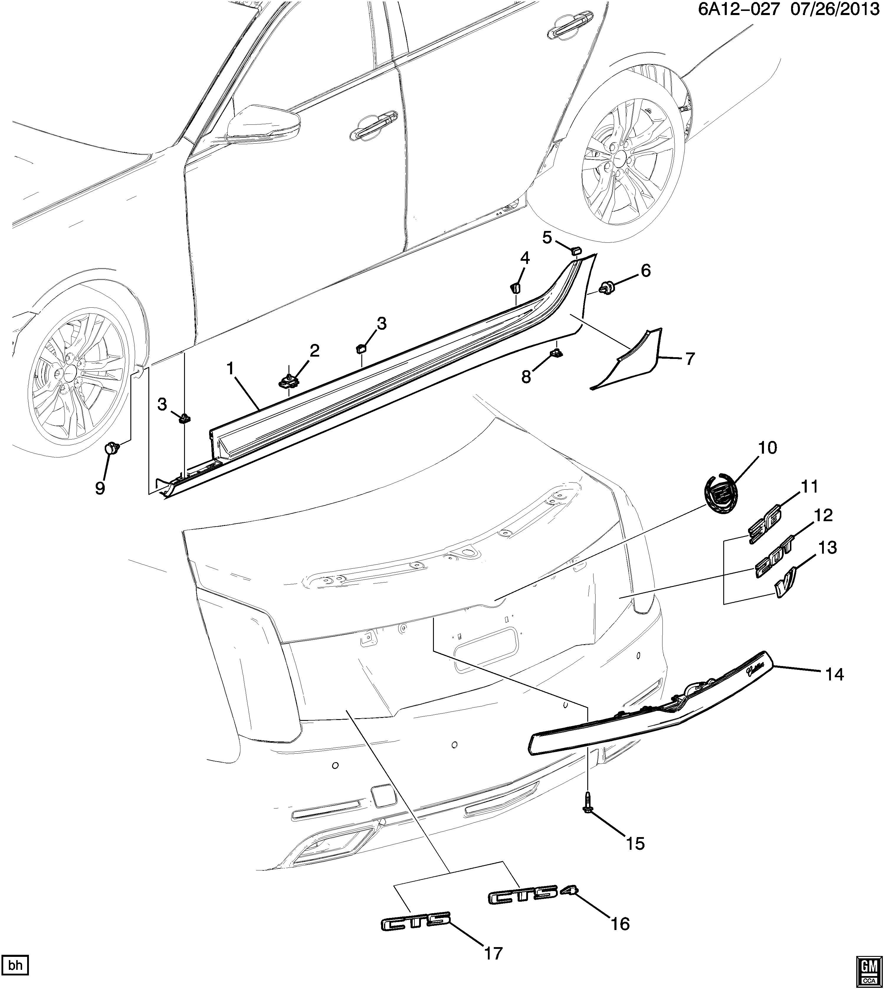 Cadillac Cts Applique Rear End Panel And Tailgate Clsr