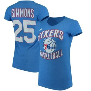 Women's Philadelphia 76ers Ben Simmons adidas Royal Name & Number T-Shirt