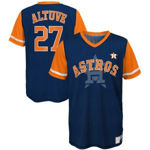 Youth Houston Astros Jose Altuve Majestic Navy/Orange Play Hard Player V-Neck Jersey T-Shirt