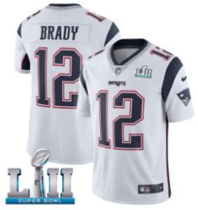 Nike Patriots #12 Tom Brady White Super Bowl LII Men's Stitched NFL Vapor Untouchable Limited Jersey
