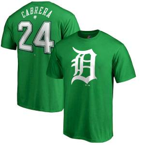 Men's Detroit Tigers Miguel Cabrera Majestic Kelly Green St. Patrick's Day Name & Number T-Shirt
