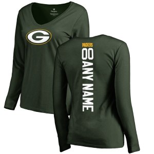 Women's Green Bay Packers NFL Pro Line Green Personalized Backer Long Sleeve T-Shirt