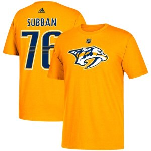 Men's Nashville Predators PK Subban adidas Gold Name & Number T-Shirt
