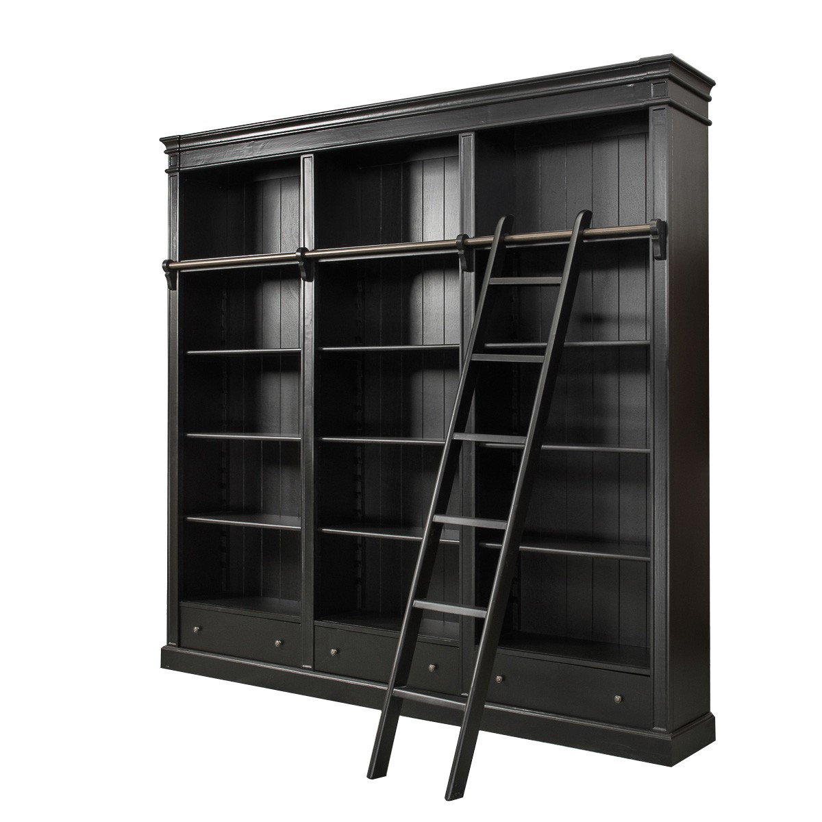 French Provincial Hamptons Open Library Bookcase With Ladder Black