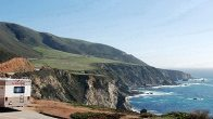 Motorhome driving in California by the sea