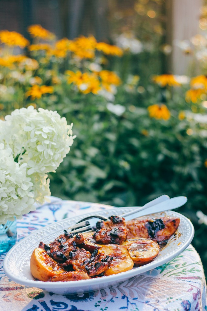 Sweet-and-Spicy Grilled Chicken and Peaches | wholesomefamilykitchen.com