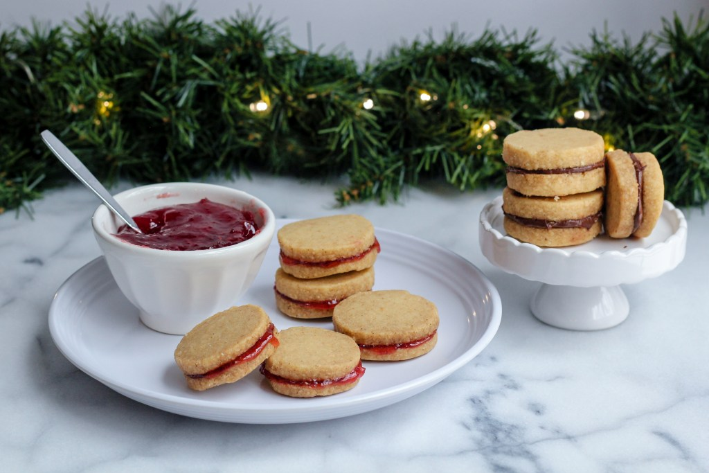 Brown-Butter Shortbread Cookies with Jam and Chocolate-Hazelnut Spread | wholesomefamilykitchen.com