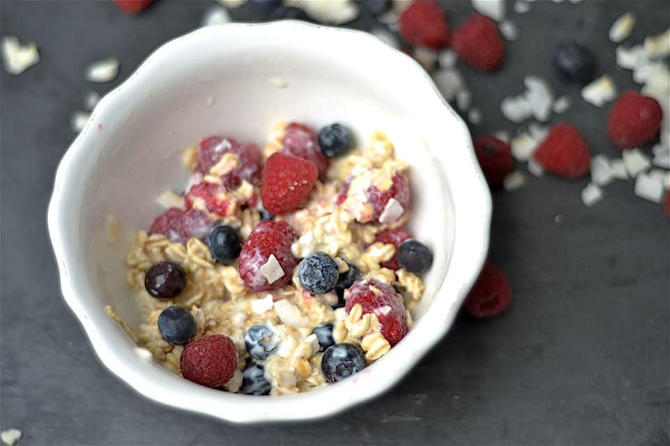 Red, White, and Blueberry Overnight Oats2
