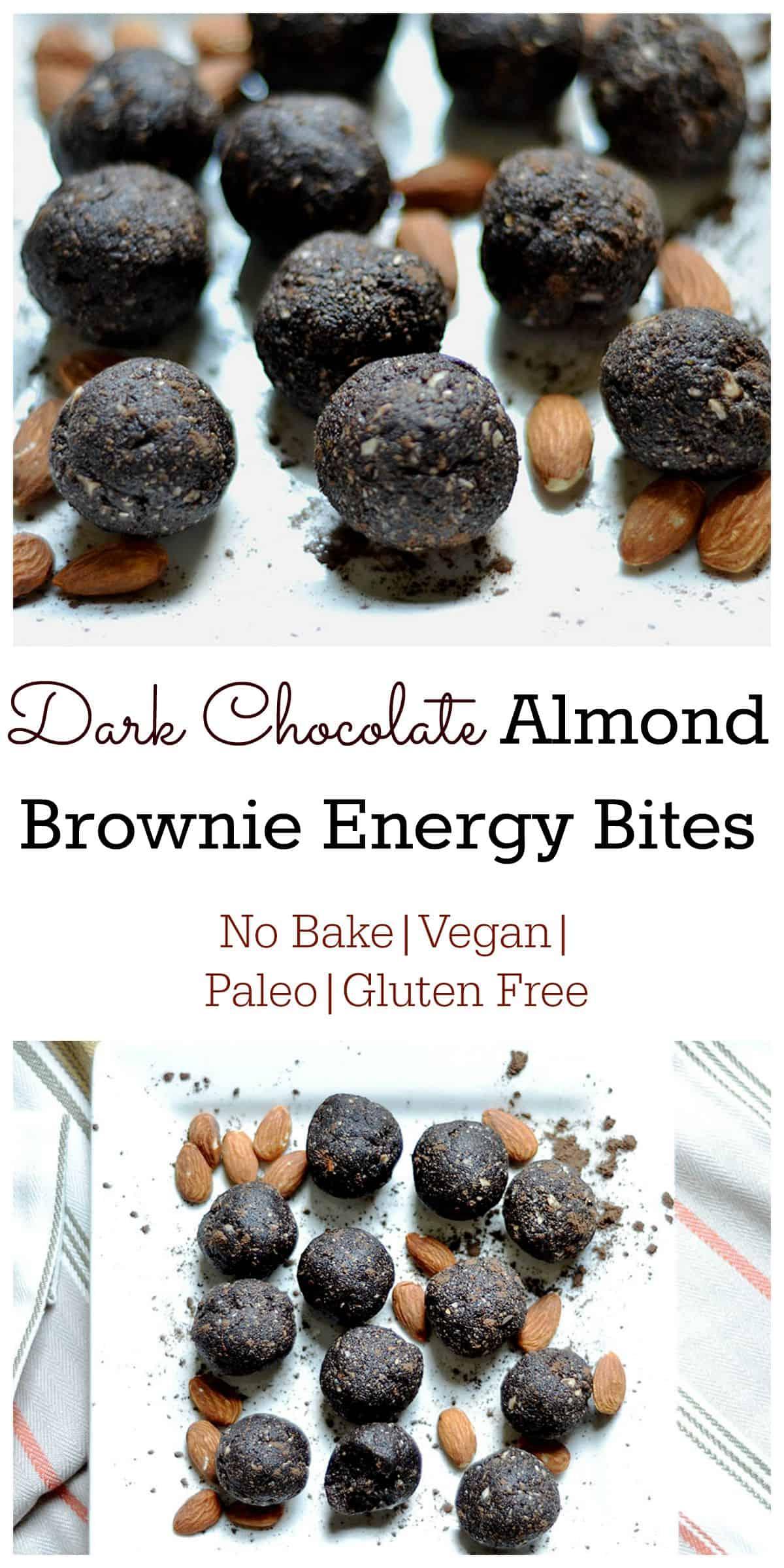 Dark Chocolate Almond Brownie Energy Bites Wholesomelicious