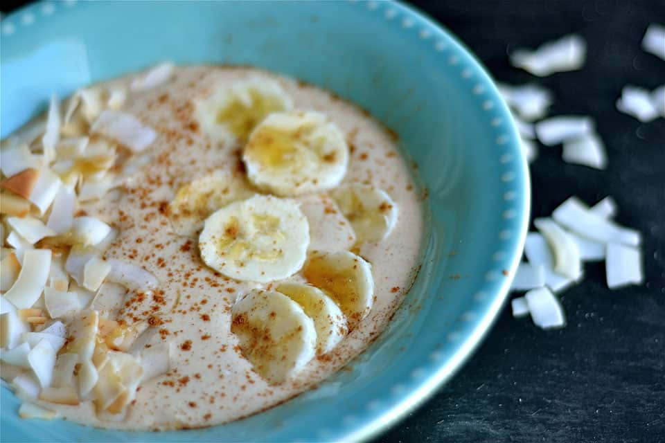 Peanut Butter and Banana Smoothie Bowl with Toasted Coconut 4