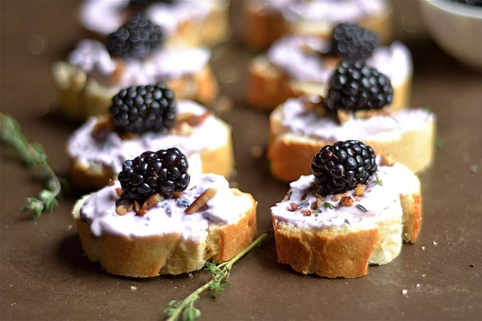 Blackberry, Thyme, and Goat Cheese Crostini 2
