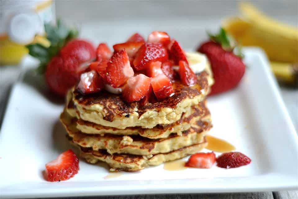 Strawberry Banana Protein Pancakes 5