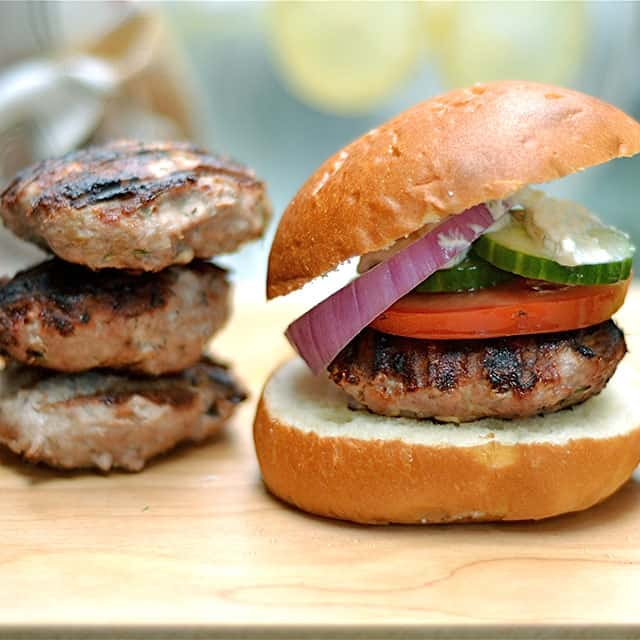 Grilled Turkey Burgers with Whipped Feta