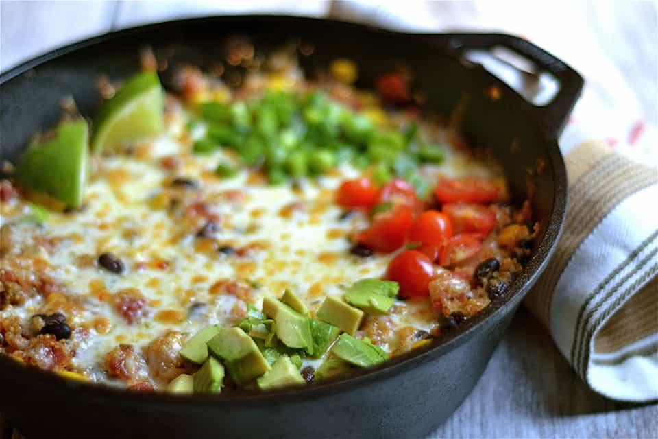 Cheesy Black Bean and Corn Quinoa Taco Skillet 2