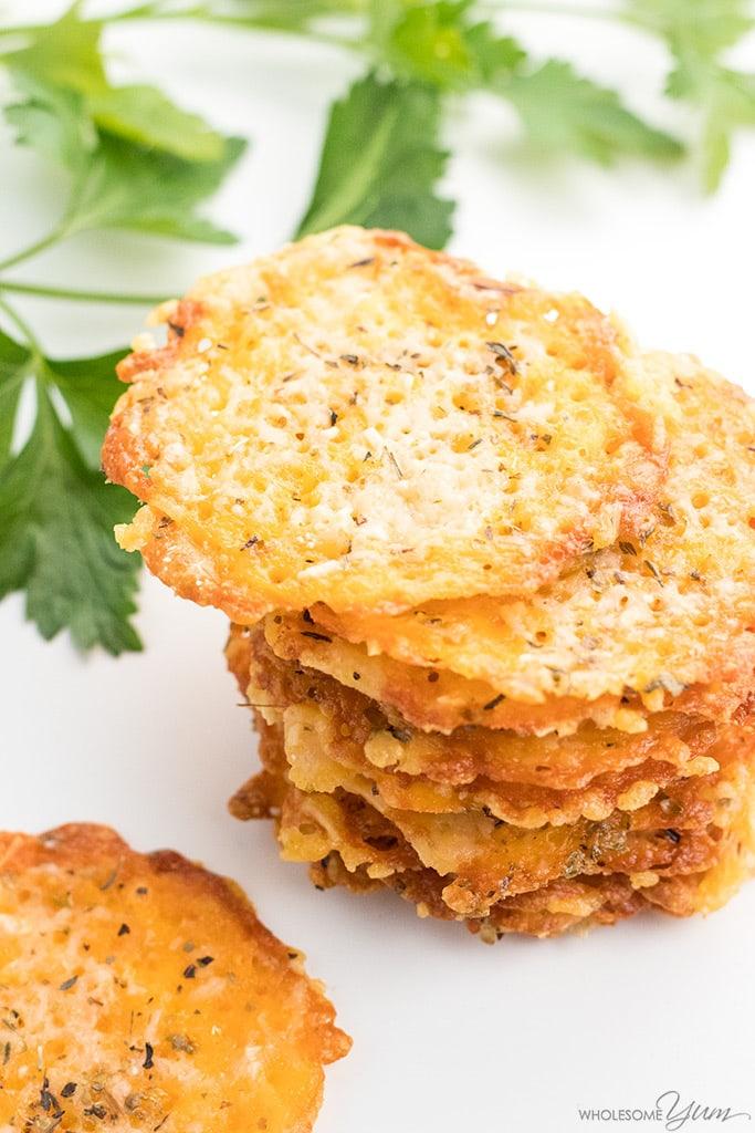 Low Carb Keto Cheddar With Parmesan Crisps