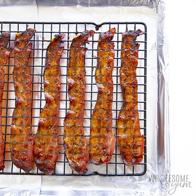 Million dollar bacon out of the oven on a baking sheet