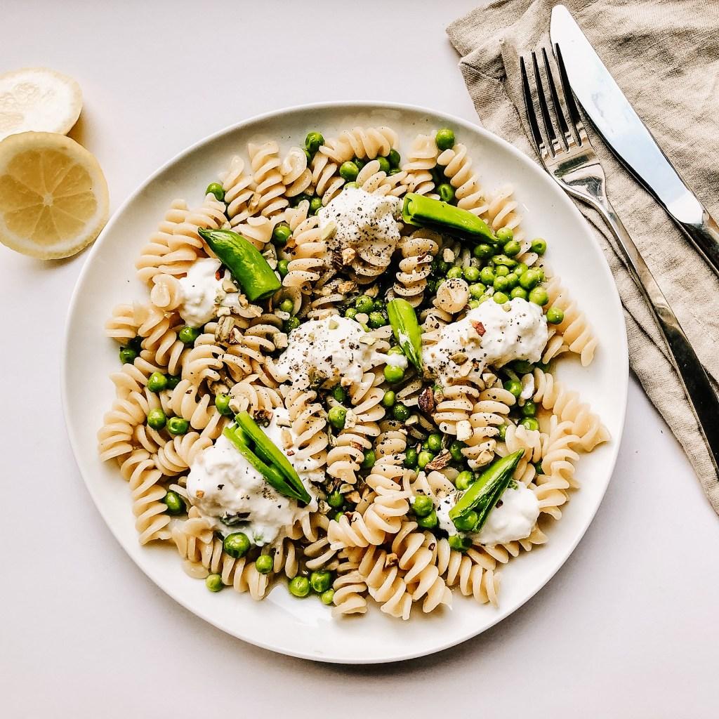english pea and stracciatella pasta