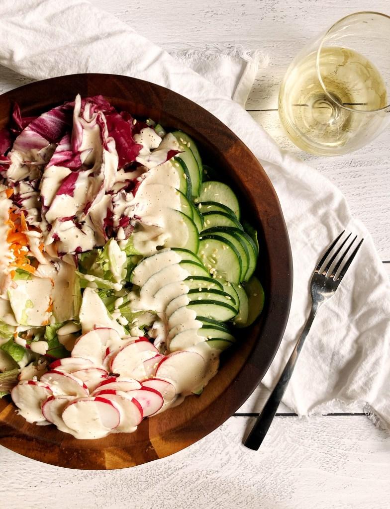 healthy garden salad with lemon tahini dressing