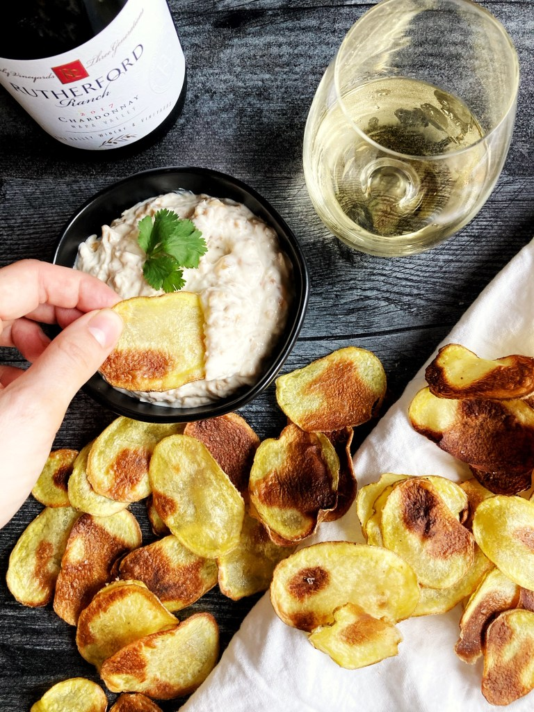 chardonnay paired with homemade french onion dip and oven-baked chips