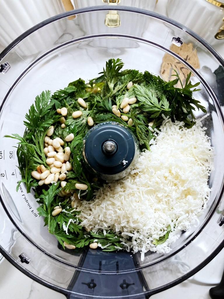 pesto ingredients in food processer