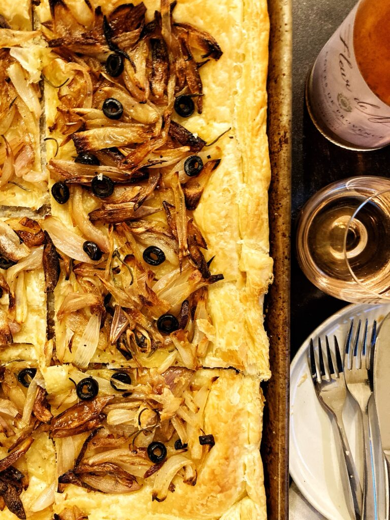 onion and shallot puff pastry tart