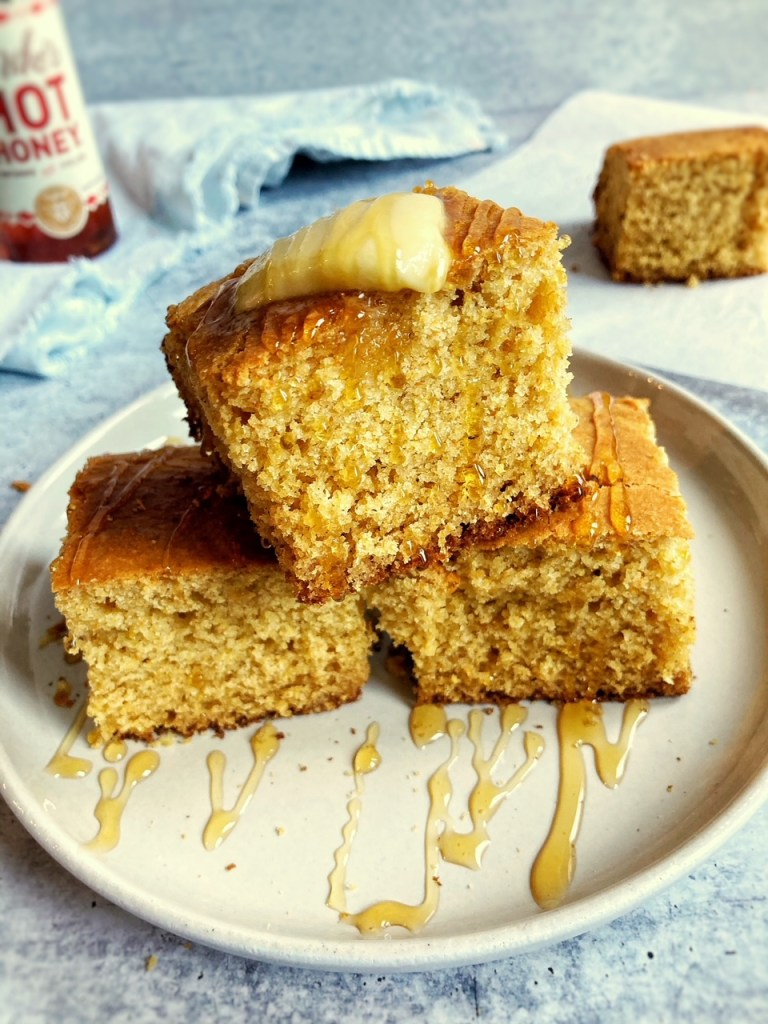 Cornbread with melted butter and honey