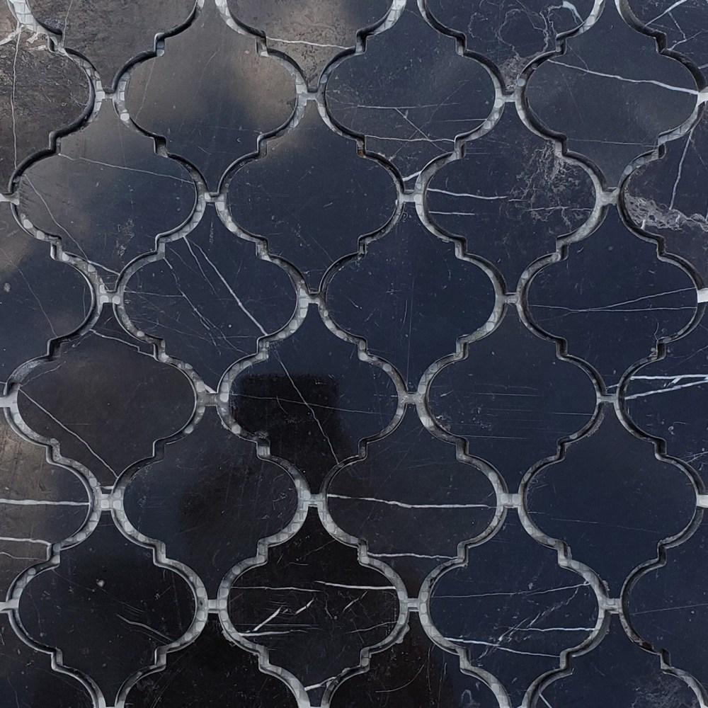 lantern arabesque mosaic tile black marble