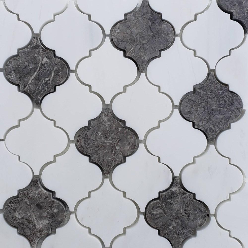 lantern arabesque mosaic tile dolomite white dark grey marble