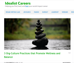 Screenshot of blog post from Idealist Careers website on Org culture