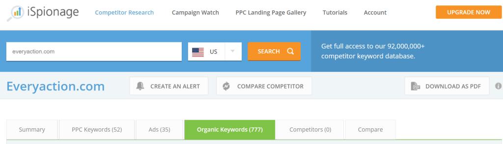 iSpionage SEO Competitors Keywords Step 3