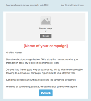 giving campaign email template for users