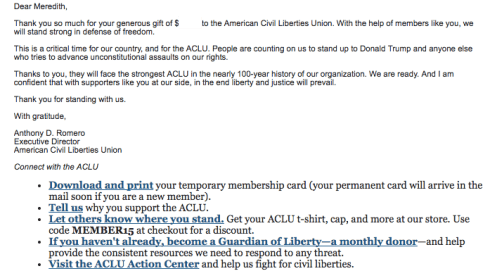 aclu donor thank you